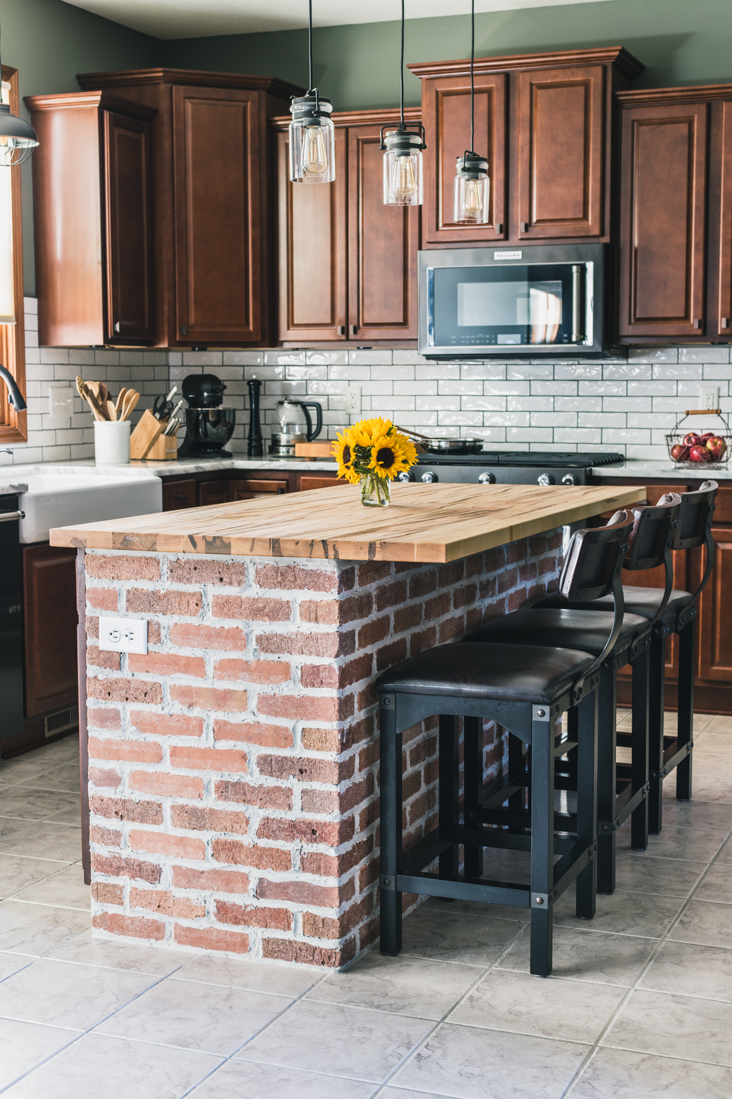 DIY Brick Kitchen Island Behind the Scenes of our