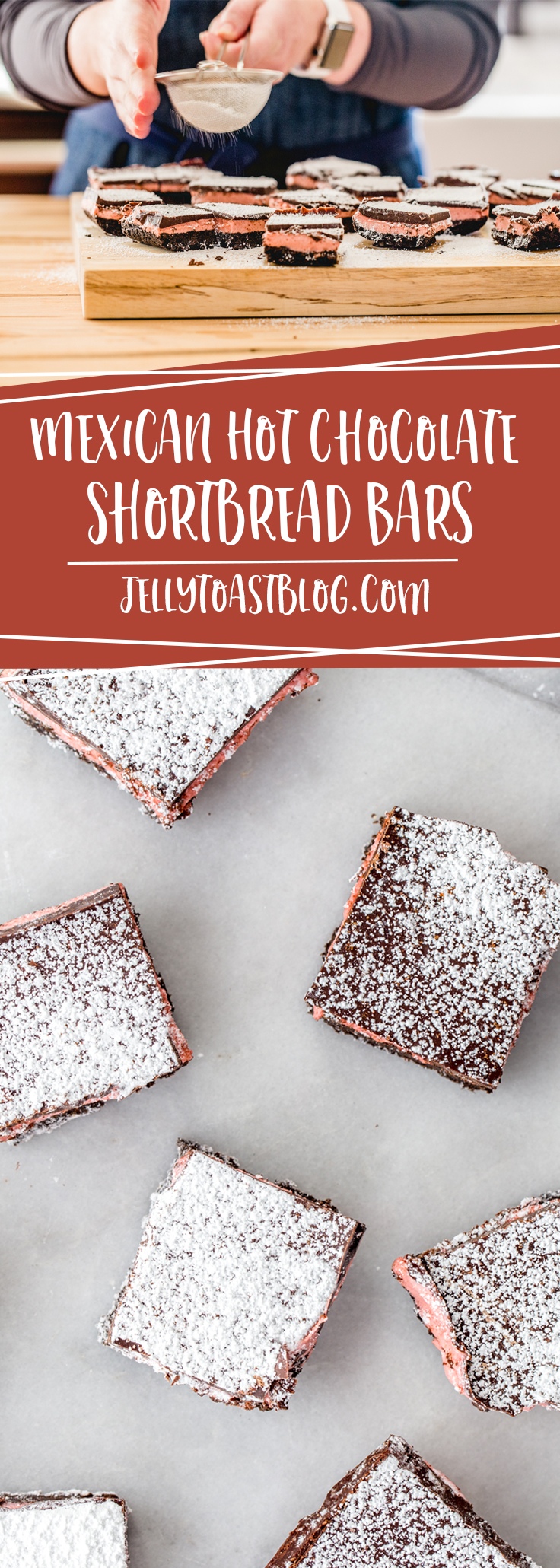 Mexican Hot Chocolate Shortbread Bars are spicy, sweet, with a gooey marshmallow center made with Campfire® Holiday Mix Marshmallows jellytoastblog.com