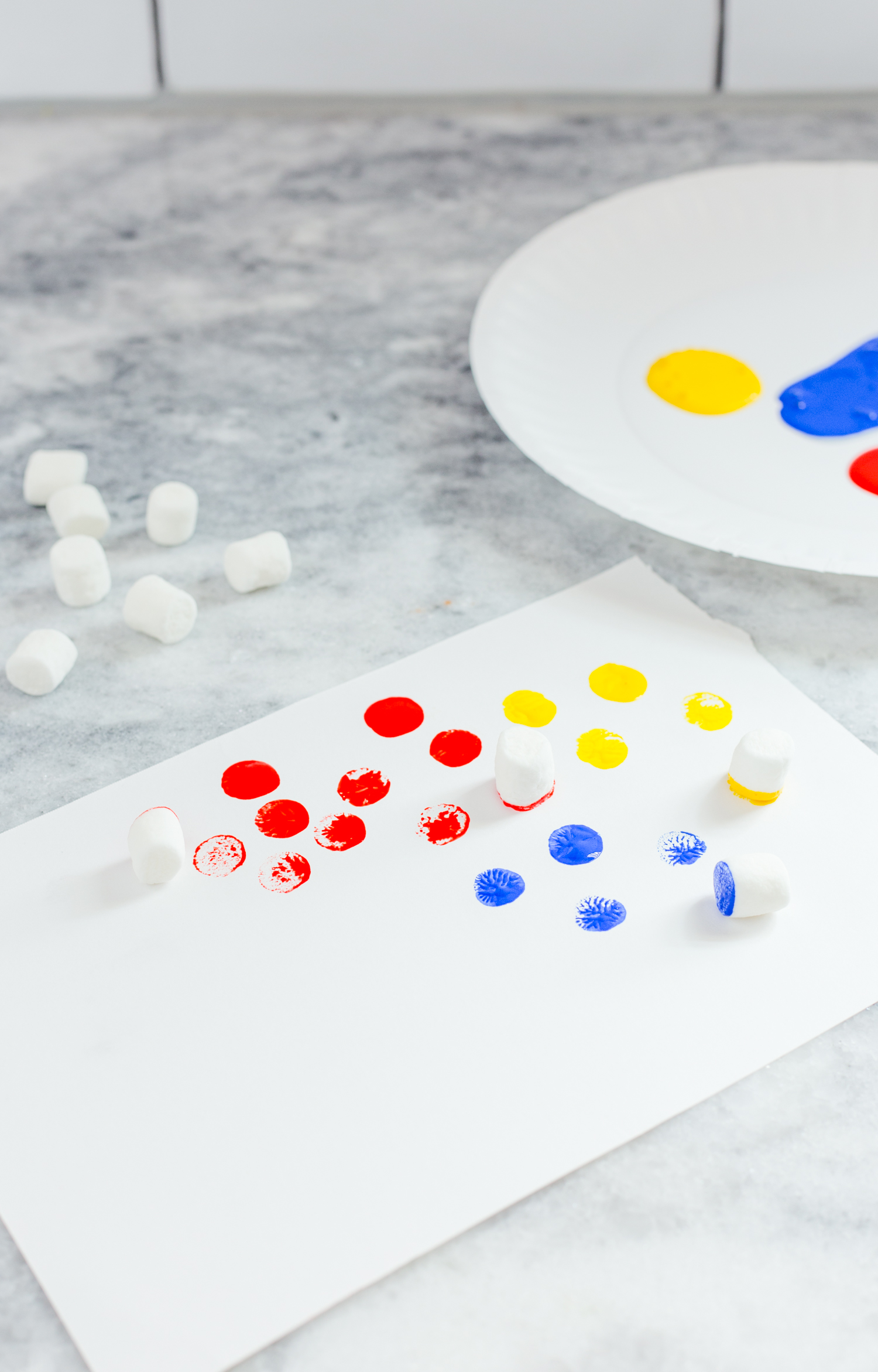 dot painting with marshmallows