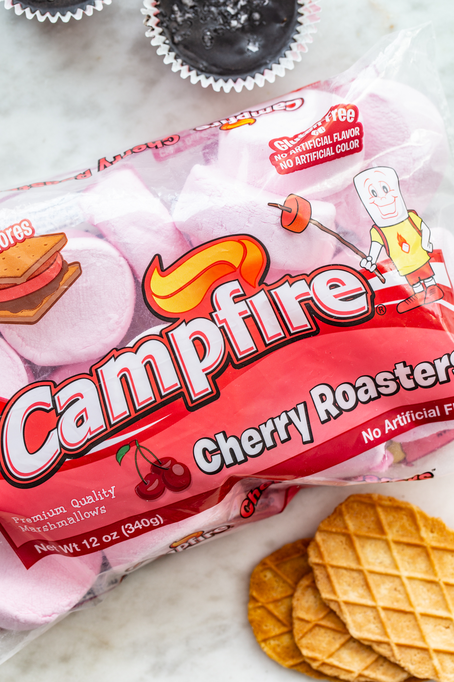 bag of cherry marshmallows campfire