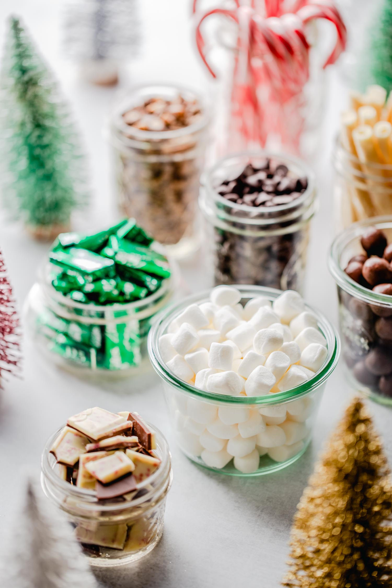 jars with candies for hot chocolate